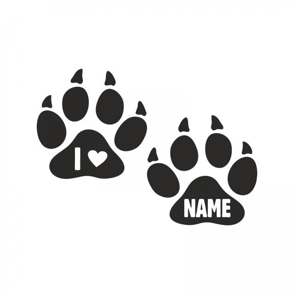 Hundepfoten-Aufkleber mit Name
