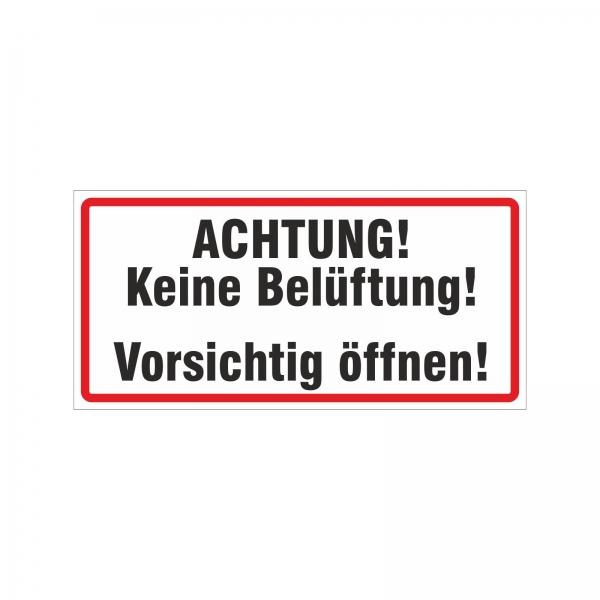 """Keine Belüftung"" Warnhinweis Aufkleber / Magnetfolie"