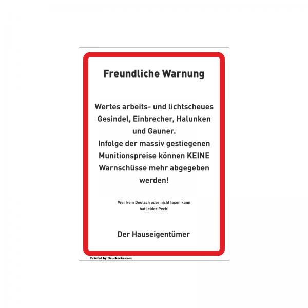 """""""Warnschüsse"""" Scherz-Schilder"""