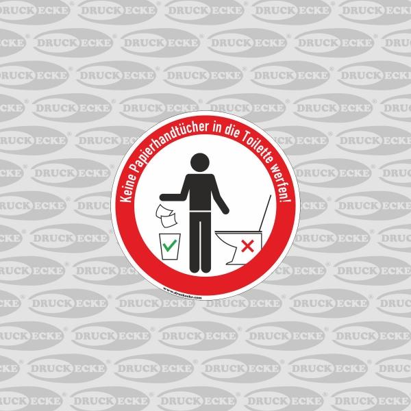 """Hinweis-Aufkleber """"Bitte keine Papierhandtücher in die Toilette Werfen!"""""""
