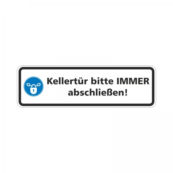 """Aufkleber """"Kellertür bitte IMMER abschließen!"""""""