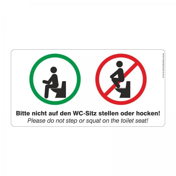 Aufkleber Bitte nicht auf den WC Sitz stellen oder hocken 200x100 mm