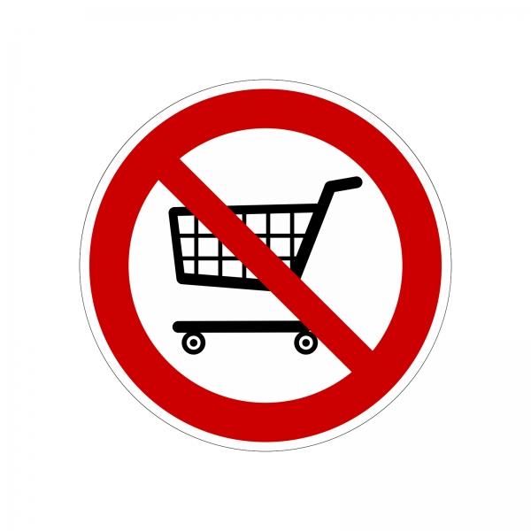 """""""Einkaufswagen verboten"""" Aufkleber"""