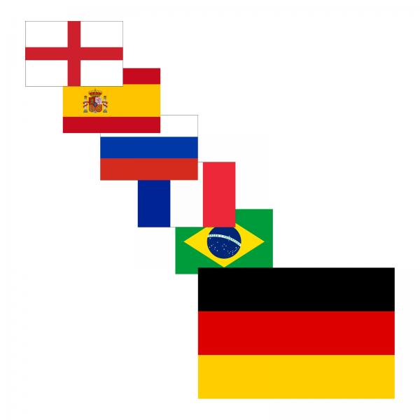 Autoaufkleber / Magnetfolie Länderflaggen Teilnehmer WM 2018