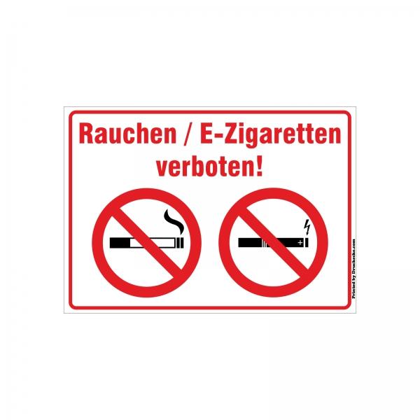 Rauchen/E-Zigarette-Verbot Aufkleber/Schilder