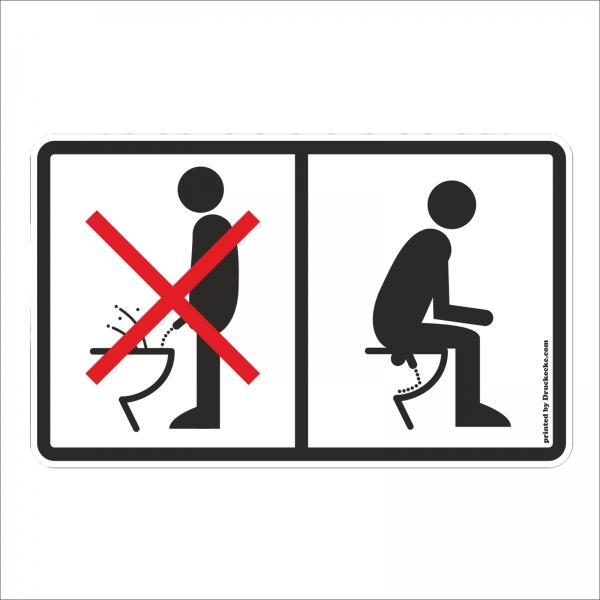"""Toiletten-Aufkleber """"Nicht im stehen Pinkeln"""""""