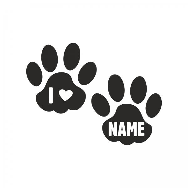 Katzenpfoten-Aufkleber mit Name