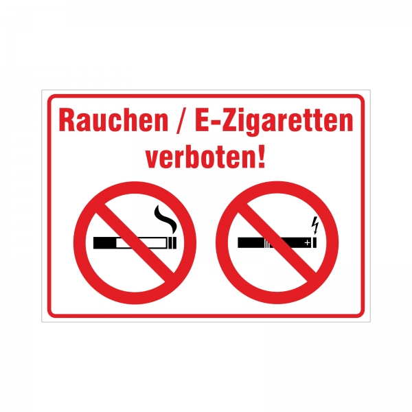 "Aufkleber ""Rauchen / E-Zigarette verboten!"""